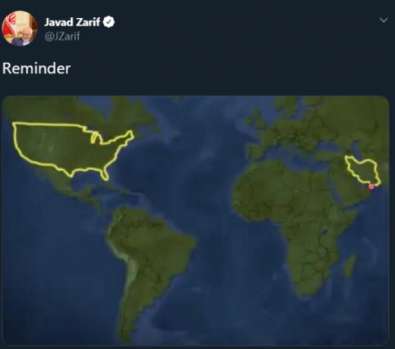 «Напоминание»: Глава МИД Ирана одной картинкой показал место США в мире